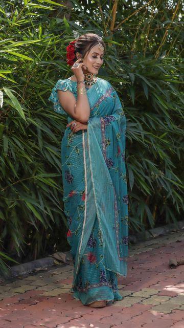 SATIMA | Satima Woven Work with print Sky blue Satin Saree