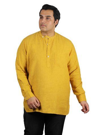 XMEX | Xmex Plus Size Yellow Linen 3/4 Rollup Sleeve Kurta with Pocket for Men