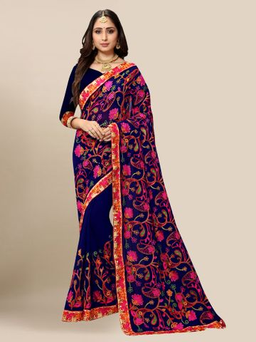 SATIMA | Women Navy Blue Georgette Embroidered Party Saree