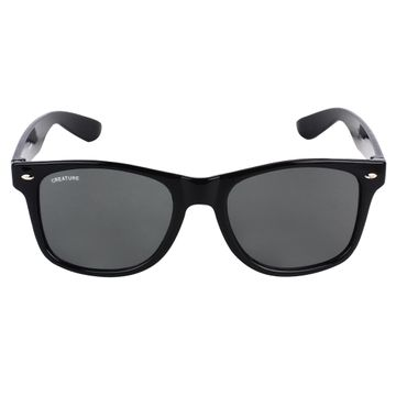 CREATURE | CREATURE Black Glossy Finish Unisex Wayfarer Sunglasses (Lens-Black|Frame-Black)