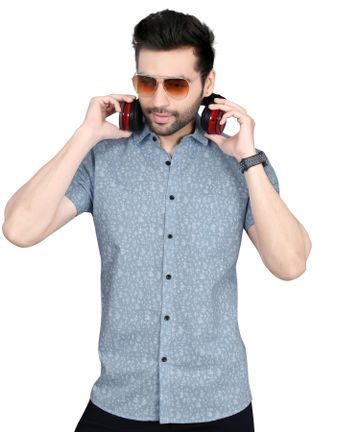 5th Anfold | Fifth Anfold linen skyblu Floral Printed Half Sleev Spread Collar Mens Casual Shirt