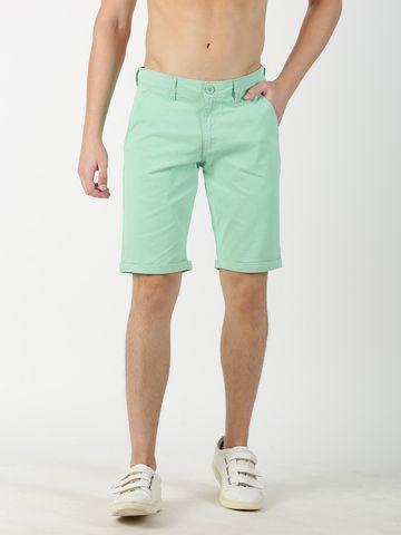 Blue Saint | Blue Saint Men's Solid Green Shorts
