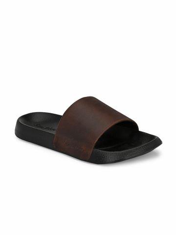 San Frissco | San Frissco Men's Faux Leather Opel Brown Sliders