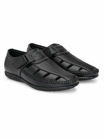 San Frissco | San Frissco Men's Faux Leather Pashto Black Sandals