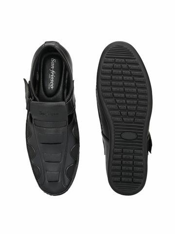 San Frissco | San Frissco Men's Faux Leather Ittar Black Sandals