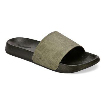 San Frissco   San Frissco Men Faux Leather Rambo Green Comfort Sliders