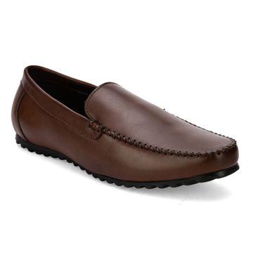 San Frissco | San Frissco Men Faux Leather Dart Brown Solid Loafers