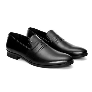 San Frissco | San Frissco Men Faux Leather Streak Black Slip-Ons