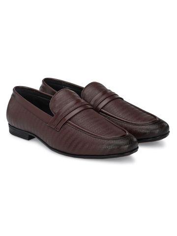 San Frissco | San Frissco Men Capri Brown Textured Slip-Ons Faux Leather Formal Shoes