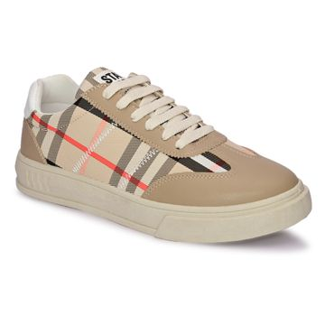 San Frissco | San Frissco Men Faux Leather Grid Beige Sneakers
