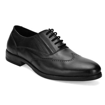 San Frissco | San Frissco Men Genuine leather Cruz Black Solid Brogues