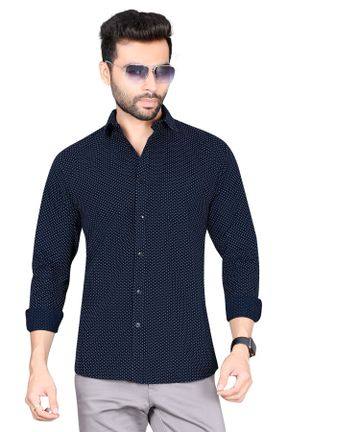 5th Anfold   Polka printed Navy Blue  pure cotton  printed full sleev Slim Collar casual shirt by 5th Anfold
