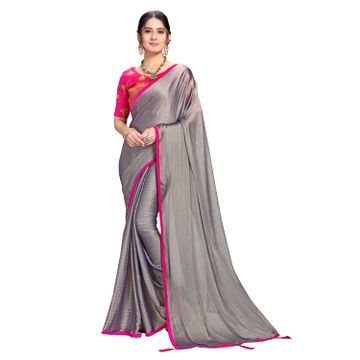 SATIMA | Designer Grey Georgette Leheriya Lace Saree