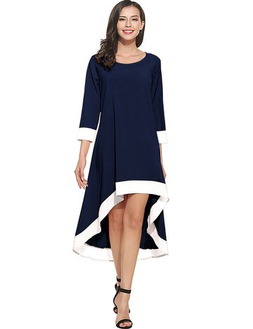 POONAM TEXTILE | Designer Blue Solid High-Low Party Dress