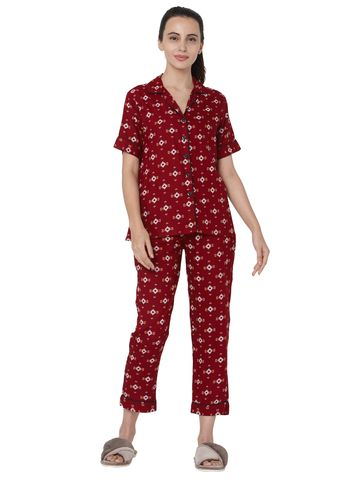 Smarty Pants | Maroon cotton aztec print night suit pair
