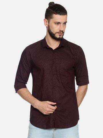 Showoff | Coffee Printed Cotton Casual Shirt