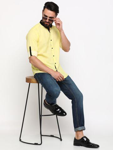Showoff | SHOWOFF Men's Linen yellow Checks Shirt