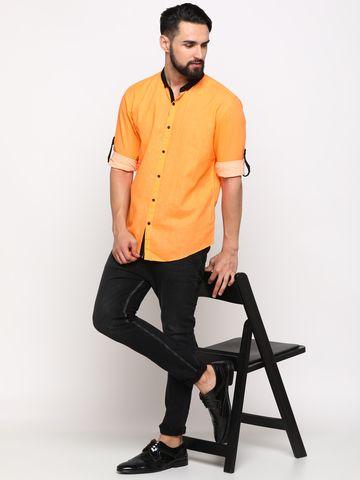 Showoff | SHOWOFF Men's Linen Orange Checks Shirt