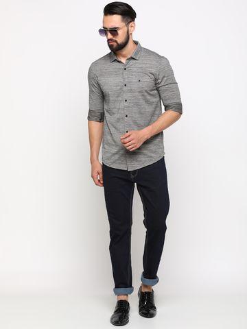 Showoff | SHOWOFF Men's Cotton Grey Printed Shirt