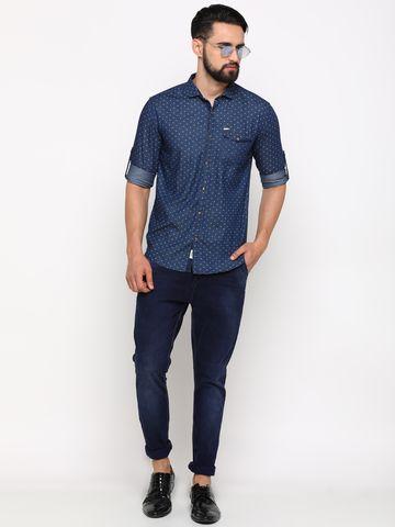 Showoff | SHOWOFF Men's Denim NavyBlue Printed Shirt