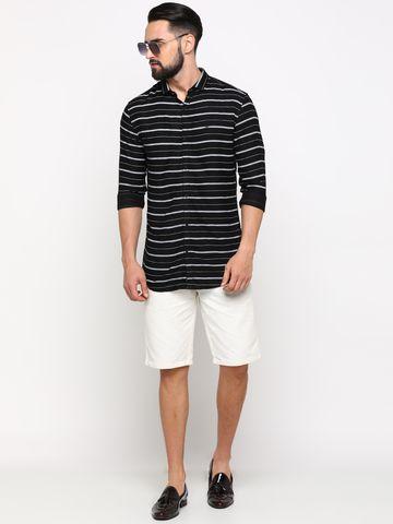 Showoff | SHOWOFF Men's Cotton Black Striped Shirt