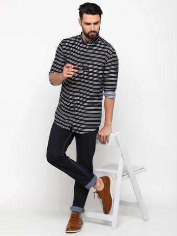 Showoff   SHOWOFF Men's Cotton IndigoBlue Striped Shirt