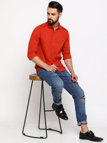 Showoff | SHOWOFF Men's Linen Red Solid Shirt