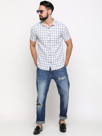 Showoff | SHOWOFF Men's Cotton White Checks Shirt