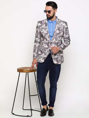 Showoff   Multi Showoff Men's Cotton Printed Slim Casual Blazers