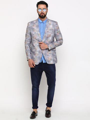Showoff   Showoff Men's Cotton Printed Slim Casual Blazers