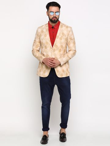 Showoff | Cream Showoff Men's Cotton Printed Slim Casual Blazers