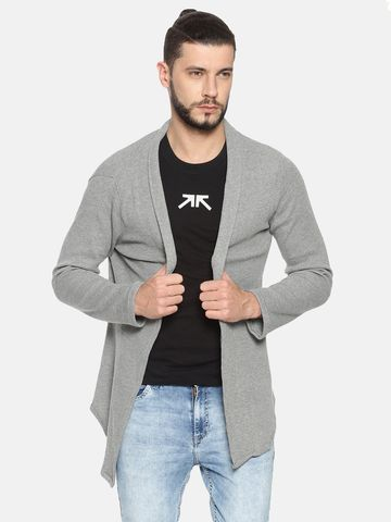 Showoff | Grey SHOWOFF Mens Cotton Casual Solid Shrug