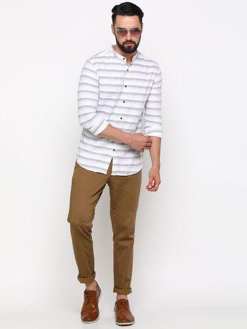Showoff   SHOWOFF Men's Cotton White Striped Shirt