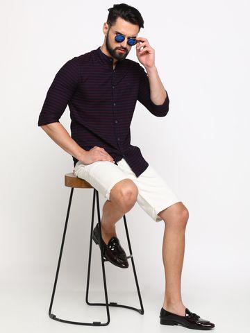 Showoff   SHOWOFF Men's Cotton Red Striped Shirt