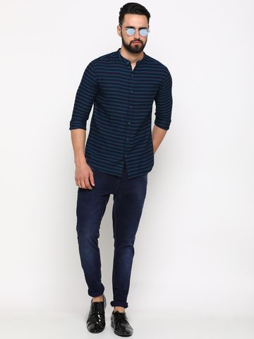 Showoff   SHOWOFF Men's Cotton Green Striped Shirt
