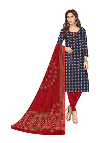 Shri | Shri Women's Pure Cotton Bandhani Printed Designer Unstitched Dress Materials (Blue)