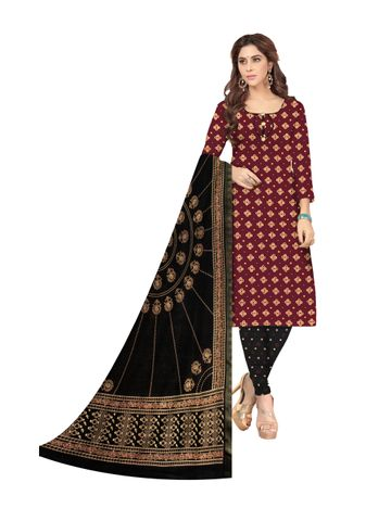 Shri | Shri Women's Pure Cotton Bandhani Printed Designer Unstitched Dress Materials (Marron)
