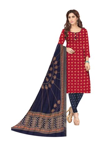 Shri | Shri Women's Pure Cotton Bandhani Printed Designer Unstitched Dress Materials (Red)