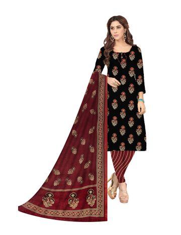 Shri | Shri Women's Pure Cotton Ajarkh Printed Dress Materials (Black)