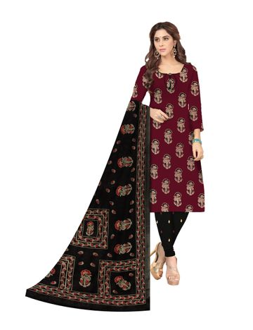 Shri | Shri Women's Pure Cotton Ajarkh Printed Dress Materials (Maroon)