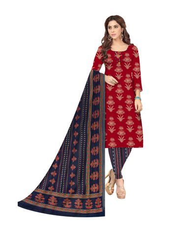 Shri | Shri Women's Pure Cotton Ajarkh Printed Dress Materials (Red)