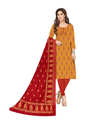 Shri | Shri Women's Pure Cotton Ajarkh Printed Dress Materials (Yellow)