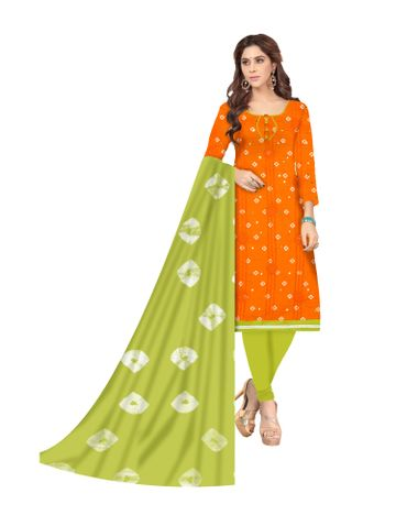 Shri | Shri Women's Pure Cotton Bandhani Printed With Embroidery Designer Unstitched Dress Materials (Orange)