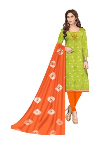 Shri   Shri Women's Pure Cotton Bandhani Printed With Embroidery Designer Unstitched Dress Materials (Parrot)
