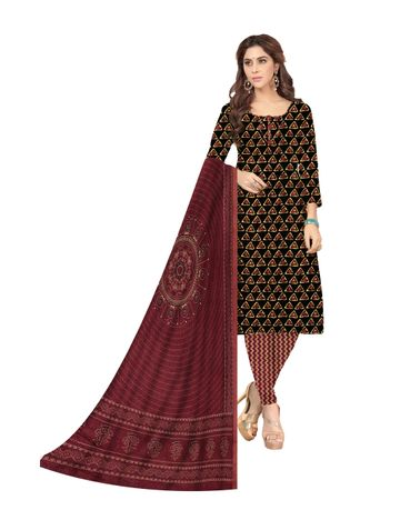 Shri | Shri Women's Pure Cotton Printed Designer Unstitched Dress Materials (Black)