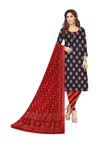 Shri | Shri Women's Pure Cotton Printed Designer Unstitched Dress Materials (Blue)