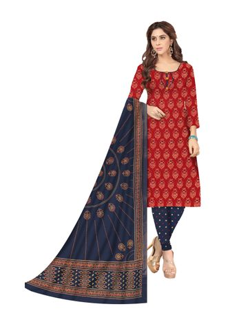 Shri | Shri Women's Pure Cotton Printed Designer Unstitched Dress Materials (Red)