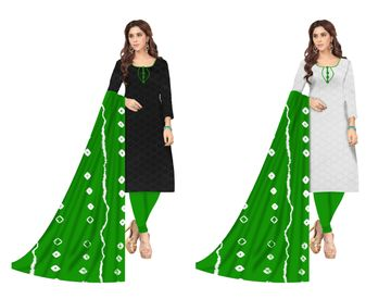 Shri | Shri Women's Chikankari Embroidery Unstitched Dress Materials (Green)