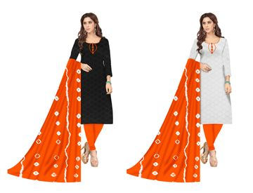 Shri | Shri Women's Chikankari Embroidery Unstitched Dress Materials (Orange)
