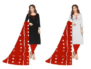 Shri | Shri Women's Chikankari Embroidery Unstitched Dress Materials (Red)